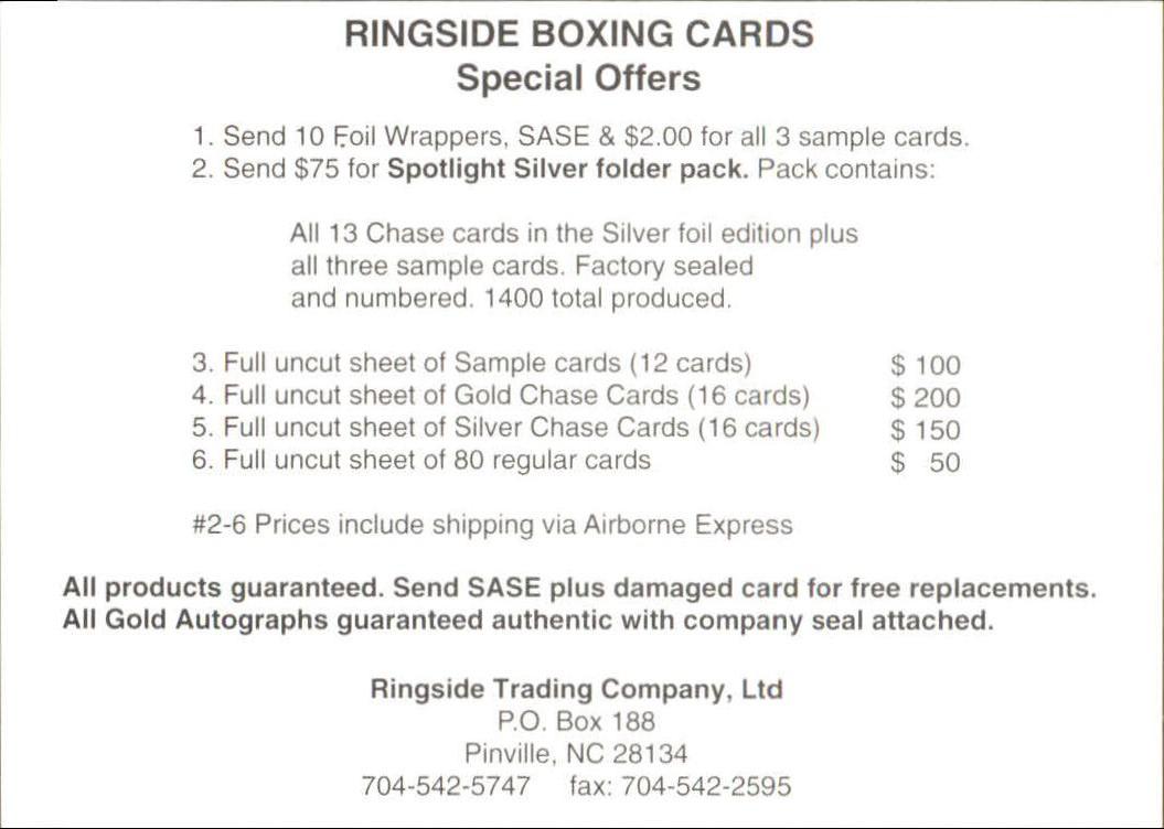 Details about 1996 Ringside #107 Checklist 1
