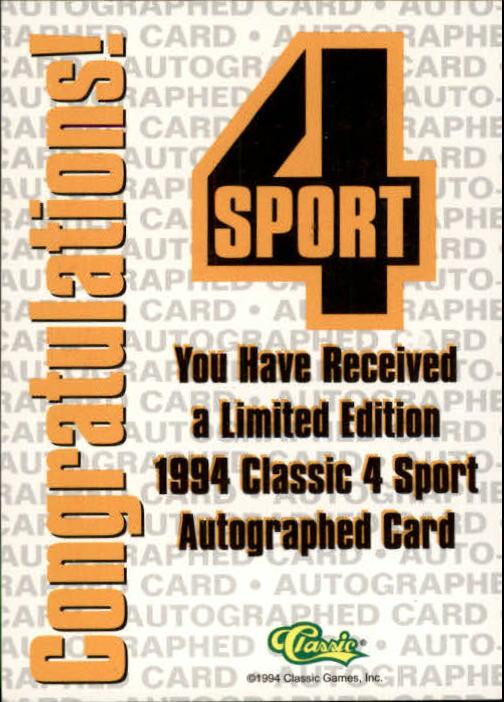 1994 Classic Four Sport Autographs #42A Gary Collier/1000 back image