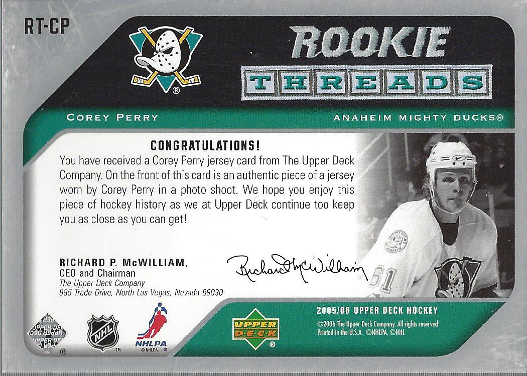 2005-06 Upper Deck Rookie Threads #RTCP Corey Perry back image