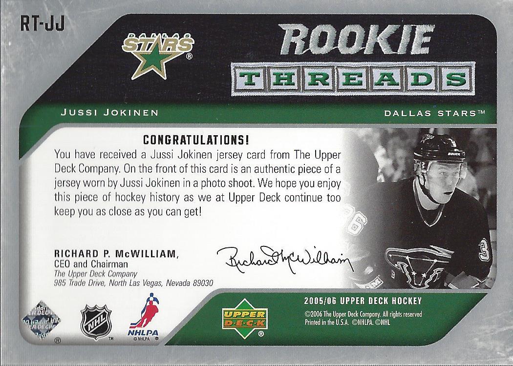 2005-06 Upper Deck Rookie Threads #RTJJ Jussi Jokinen back image