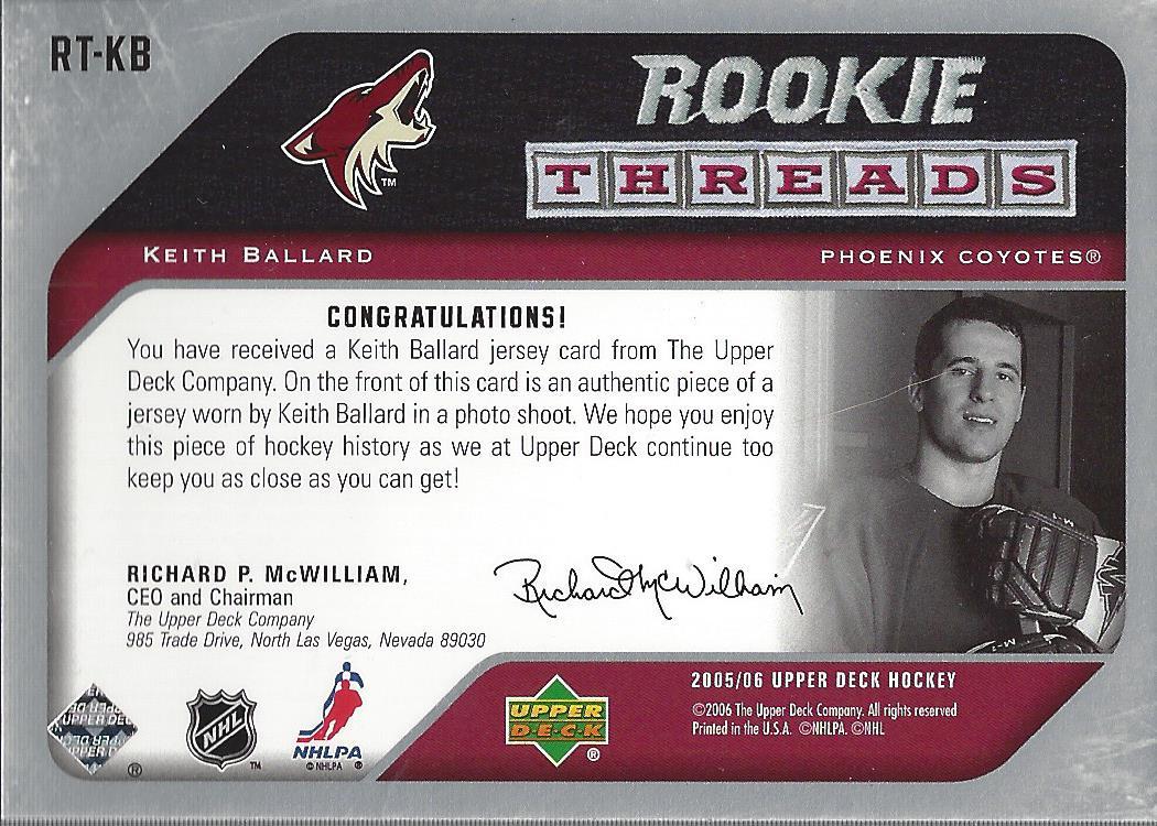 2005-06 Upper Deck Rookie Threads #RTKB Keith Ballard back image