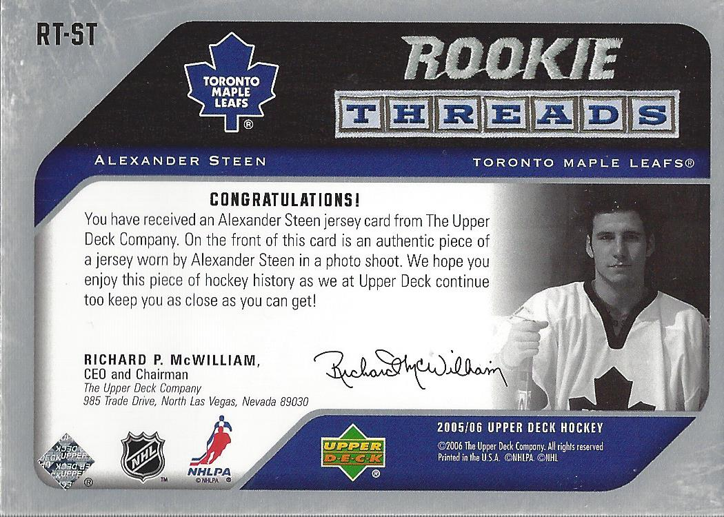 2005-06 Upper Deck Rookie Threads #RTST Alexander Steen back image