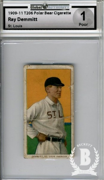 1909-11 T206 #125 Ray Demmitt/St. Louis