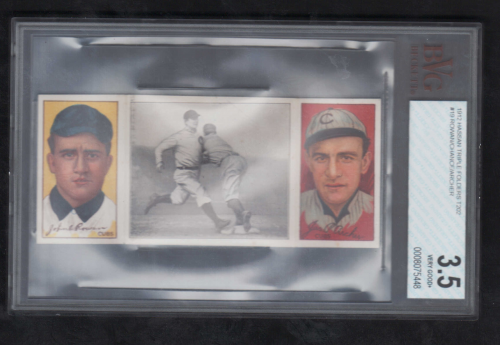 1912 Hassan Triple Folders T202 #19 Chance Beats Out a Hit/John Rowan/Jimmy Archer