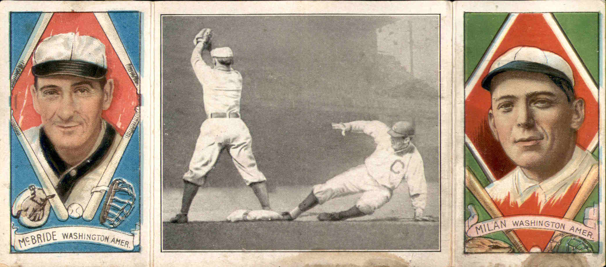 1912 Hassan Triple Folders T202 #100 Schaefer on First/George McBride/Clyde Milan