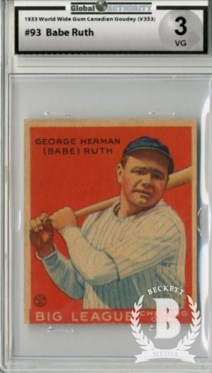 1933 World Wide Gum V353 #93 George H.(Babe)Ruth