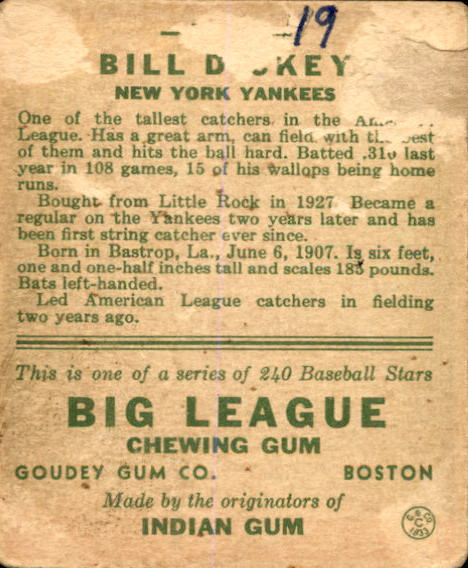 1933 Goudey #19 Bill Dickey RC back image