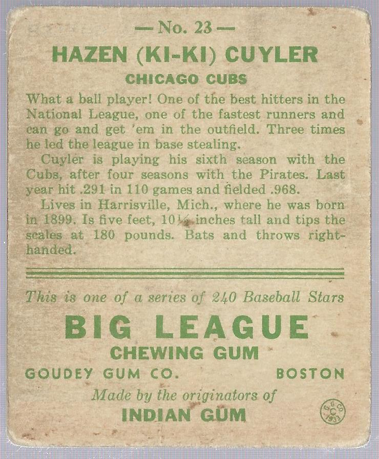 1933 Goudey #23 Kiki Cuyler RC back image