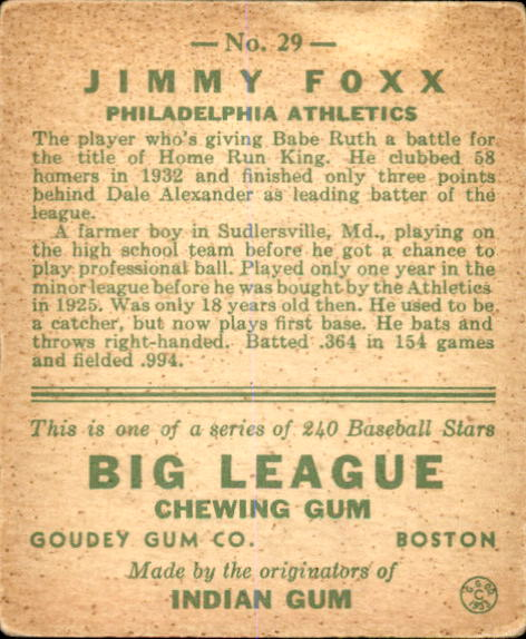 1933 Goudey #29 Jimmie Foxx RC back image