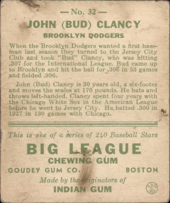 1933 Goudey #32 Bud Clancy RC back image