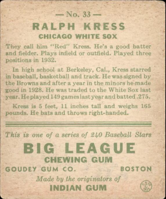 1933 Goudey #33 Ralph Kress RC back image
