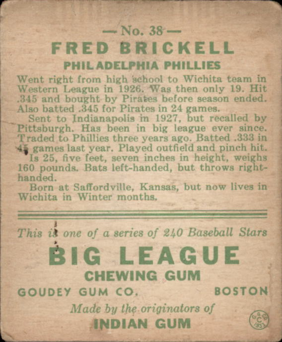 1933 Goudey #38 Fred Brickell RC back image