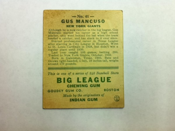 1933 Goudey #41 Gus Mancuso CATCH RC back image