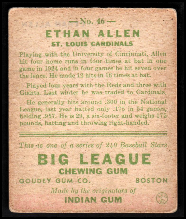 1933 Goudey #46 Ethan Allen RC back image