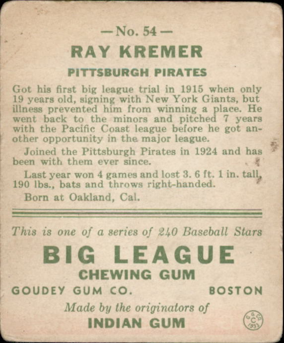 1933 Goudey #54 Ray Kremer RC back image