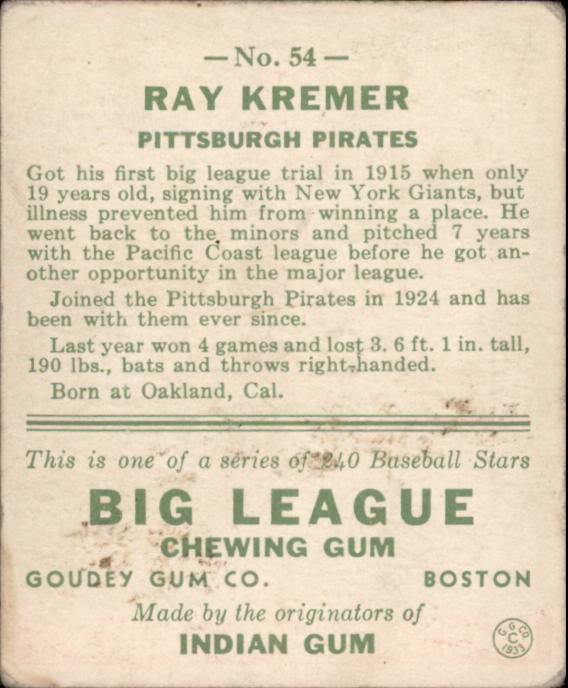 1933 Goudey #54 Ray Kremer RC back image