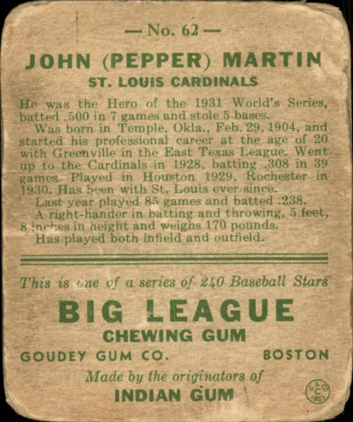 1933 Goudey #62 Pepper Martin RC back image