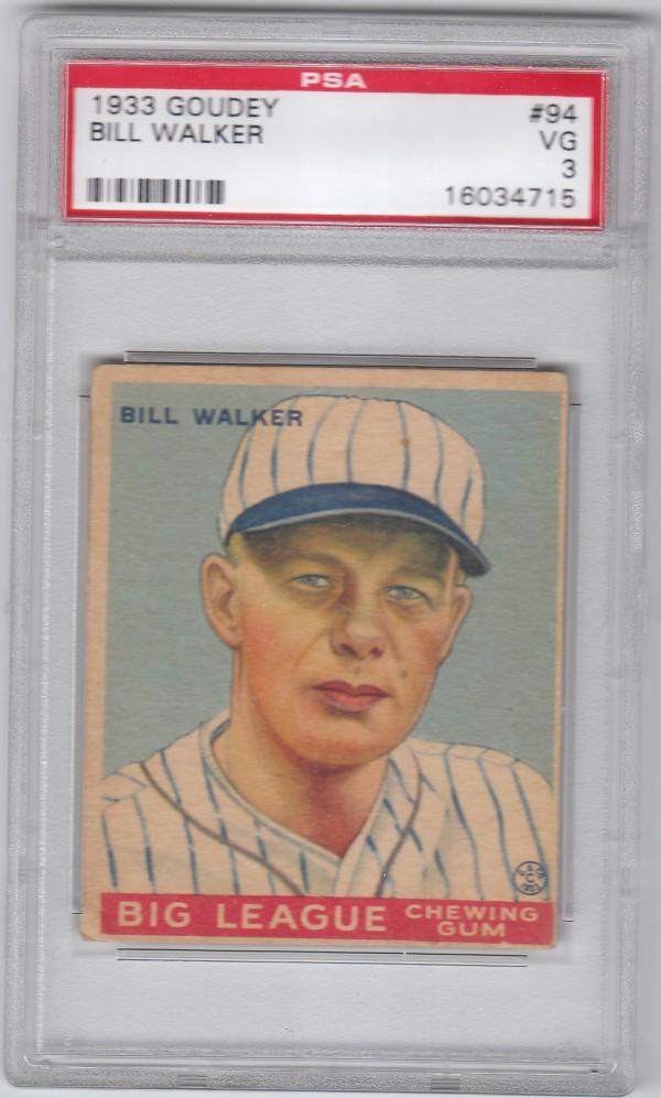 1933 Goudey #94 Bill Walker RC