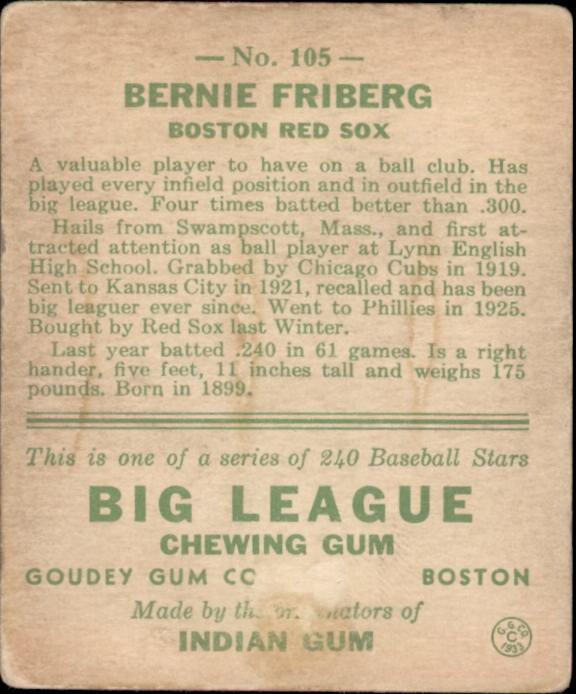 1933 Goudey #105 Bernie Friberg RC back image