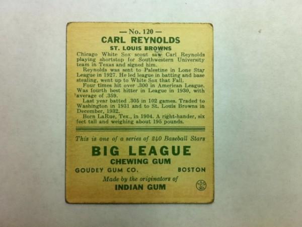 1933 Goudey #120 Carl Reynolds RC back image