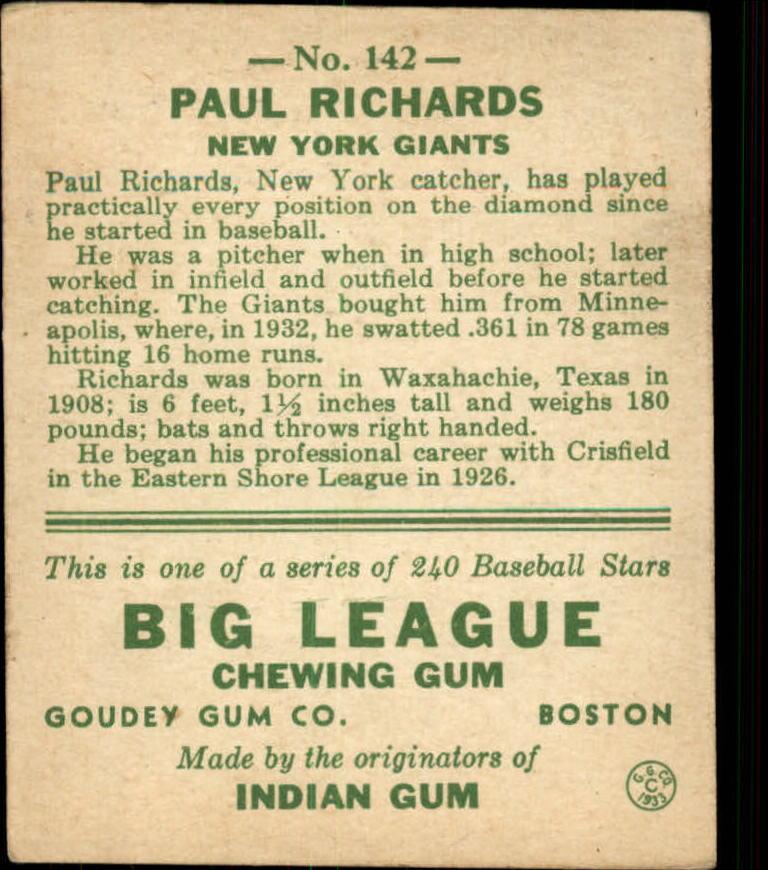 1933 Goudey #142 Paul Richards RC back image