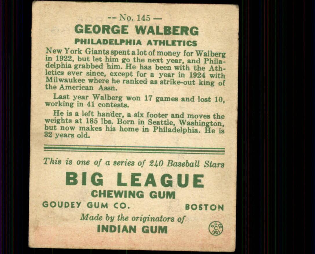 1933 Goudey #145 Rube Walberg RC back image