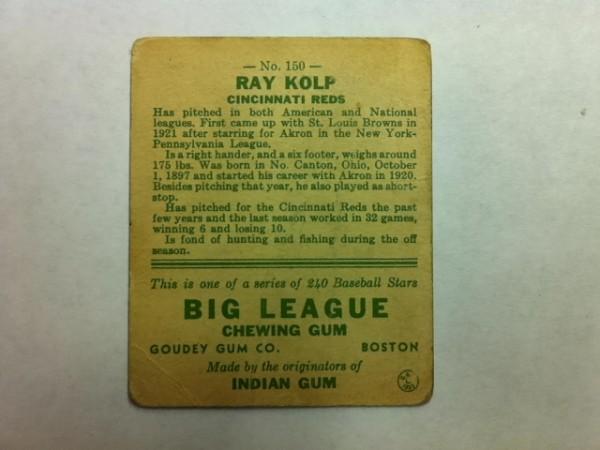 1933 Goudey #150 Ray Kolp RC back image