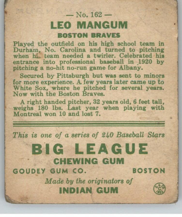 1933 Goudey #162 Leo Mangum RC back image