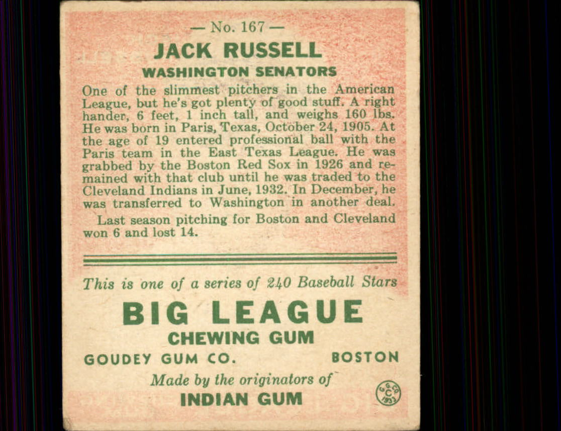 1933 Goudey #167 Jack Russell RC back image