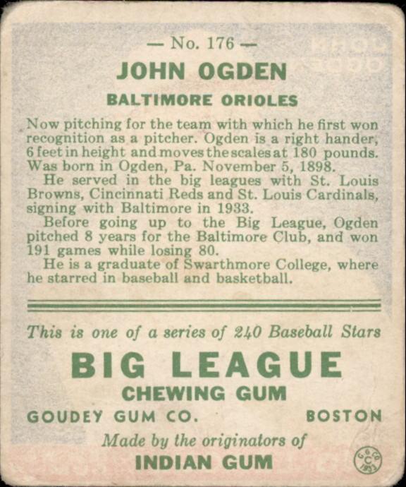 1933 Goudey #176 John Ogden RC back image