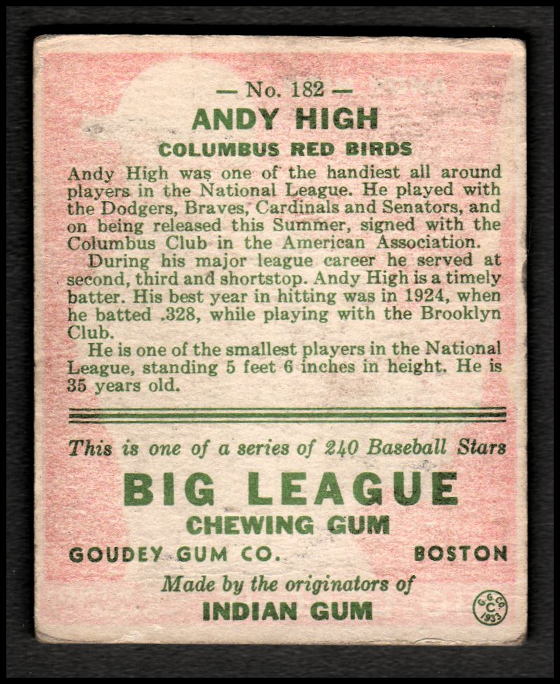 1933 Goudey #182 Andy High RC back image