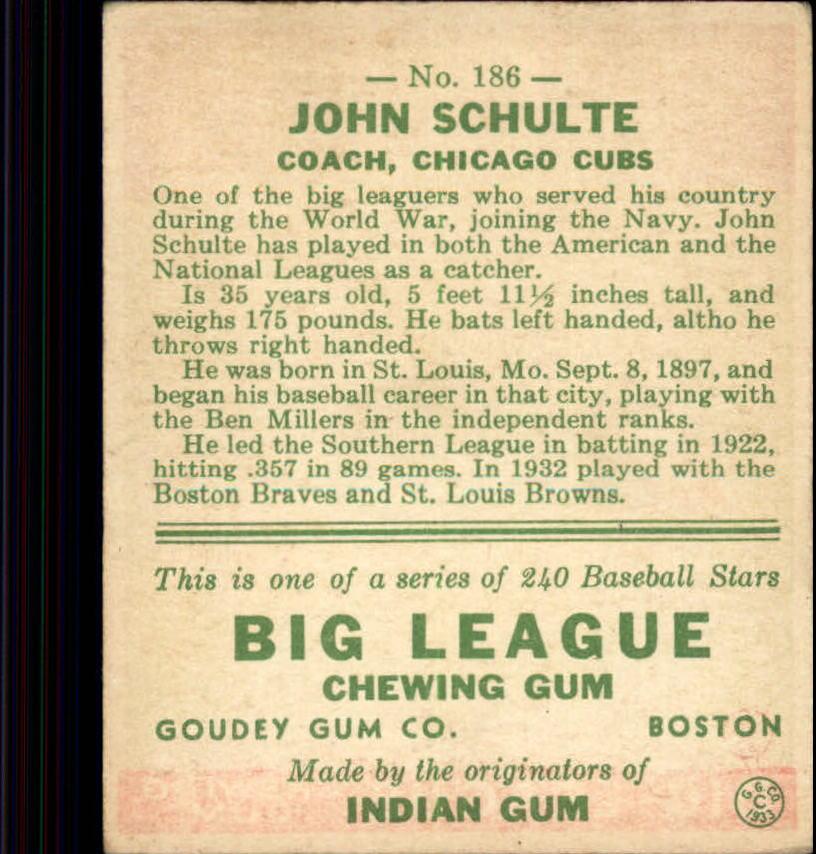 1933 Goudey #186 John Schulte RC back image
