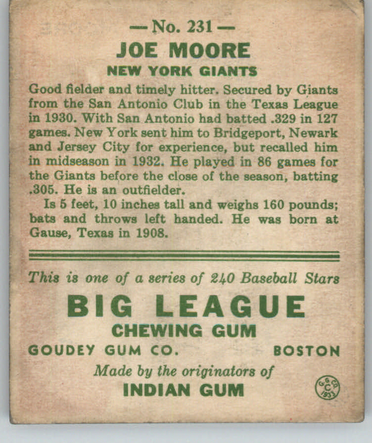 1933 Goudey #231 Joe Moore FIELD RC back image