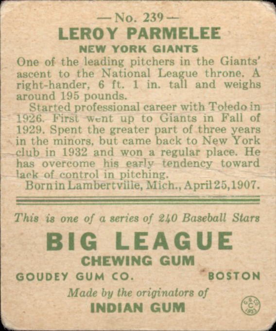 1933 Goudey #239 Leroy Parmelee RC back image