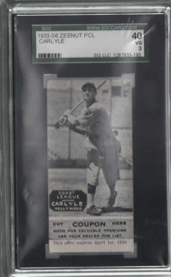 1933-36 Zeenut PCL #1 Cleo Carlyle