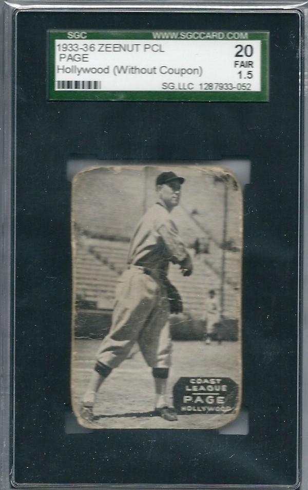 1933-36 Zeenut PCL #6 Vance Page