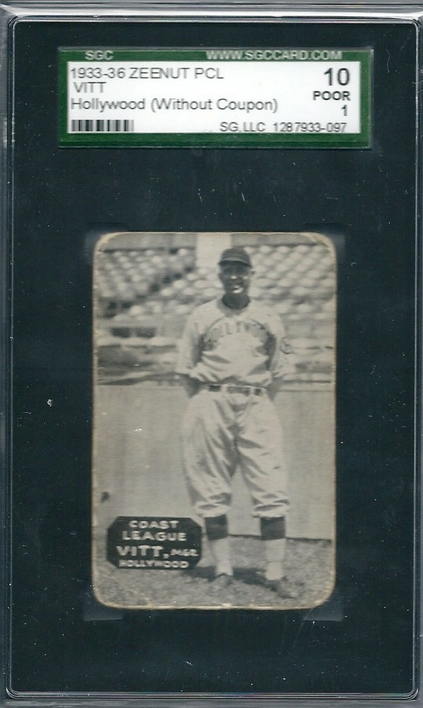 1933-36 Zeenut PCL #7 Oscar Vitt MG