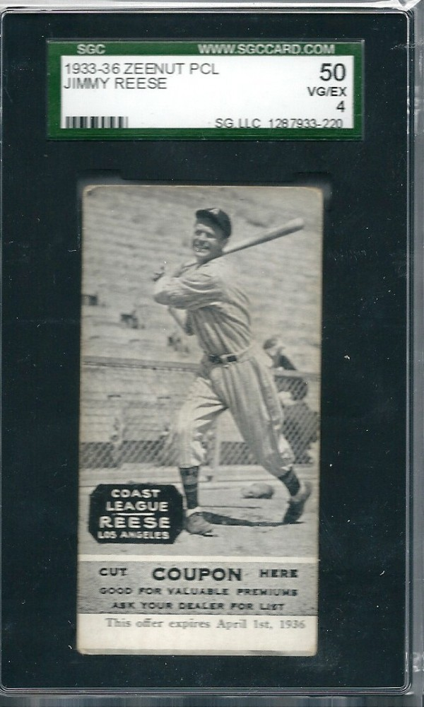 1933-36 Zeenut PCL #10 J.Reese/J.Reese