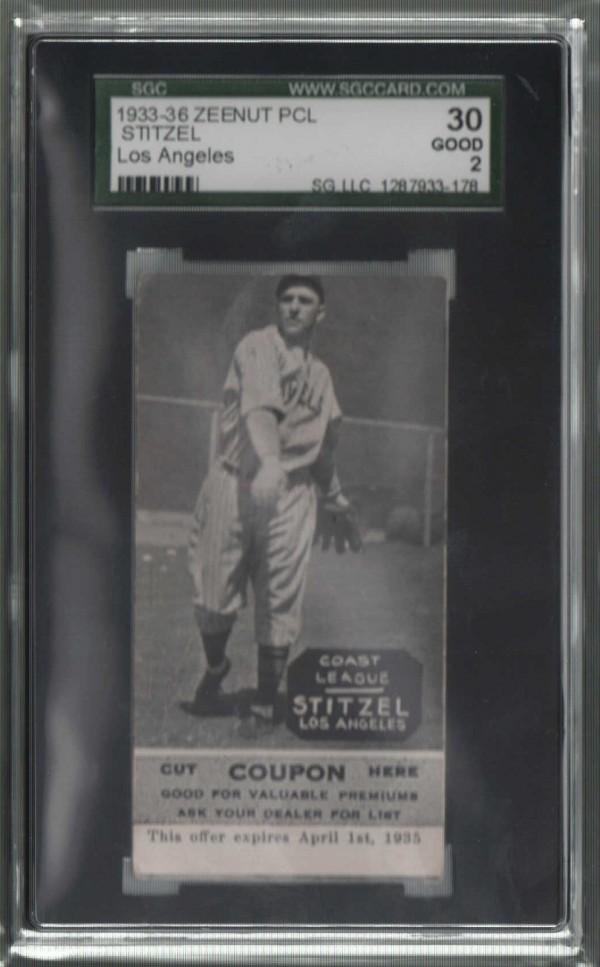 1933-36 Zeenut PCL #12 Hal Stitzel