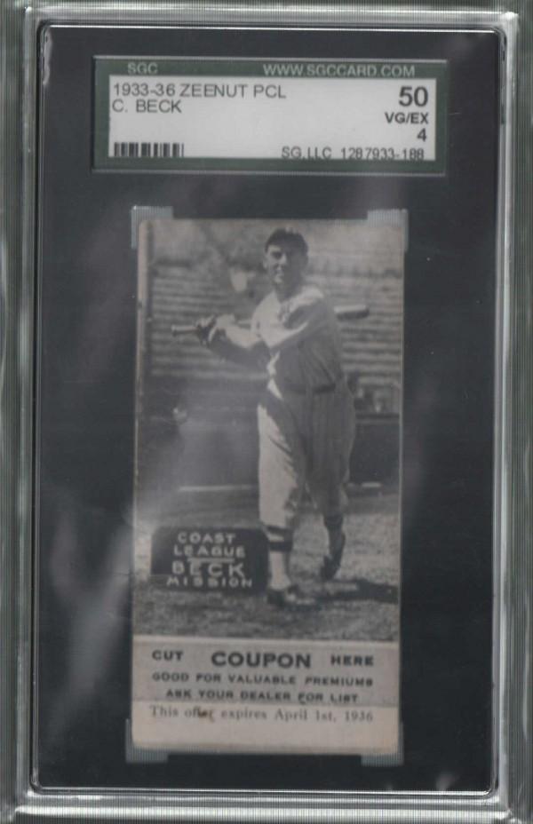1933-36 Zeenut PCL #16 Clyde Beck