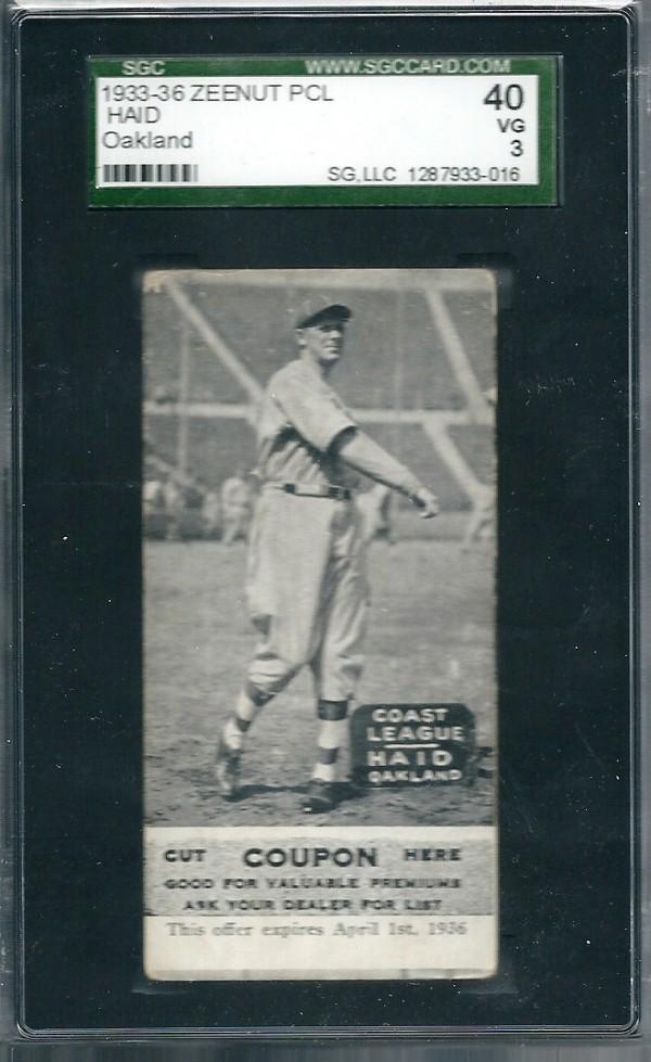 1933-36 Zeenut PCL #57 Hal Haid