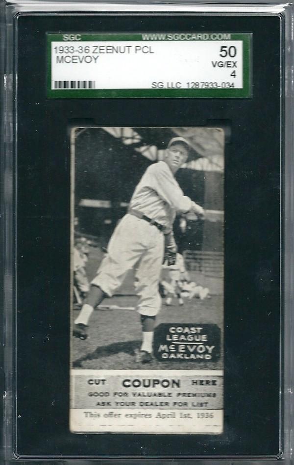 1933-36 Zeenut PCL #62 L.McEvoy/L.McEvoy
