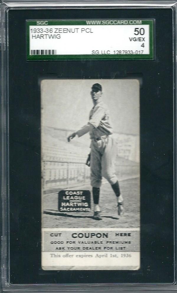 1933-36 Zeenut PCL #88 William Hartwig/Willam Hartwig