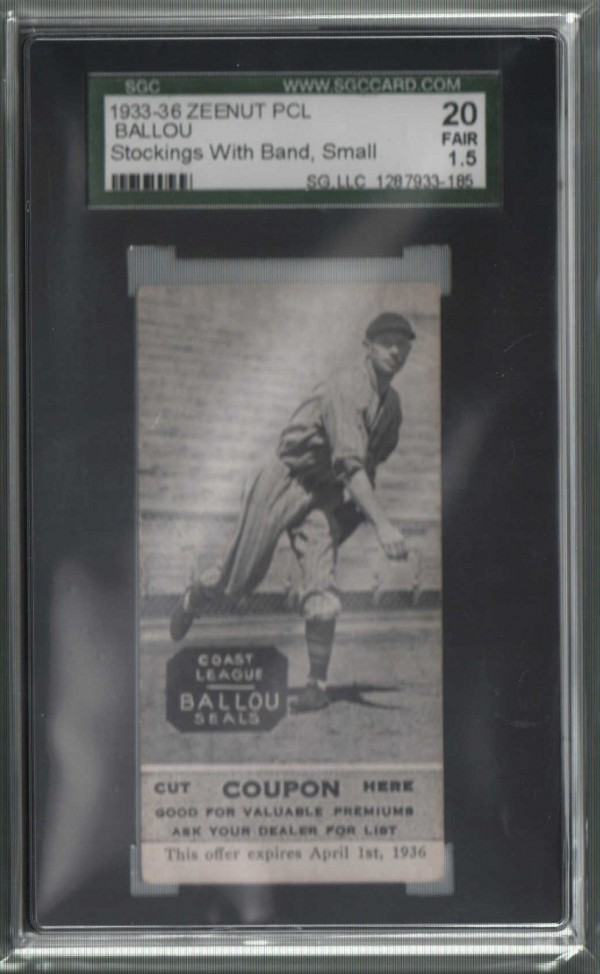 1933-36 Zeenut PCL #99 William Ballou/William Ballou