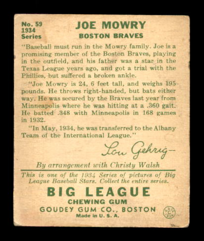 1934 Goudey #59 Joe Mowry RC back image