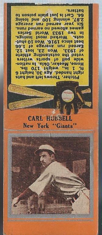 1934 Diamond Match Co. Silver Border #95 Carl Hubbell