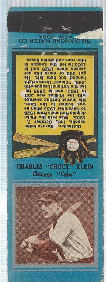 1934 Diamond Match Co. Silver Border #104 Chuck Klein