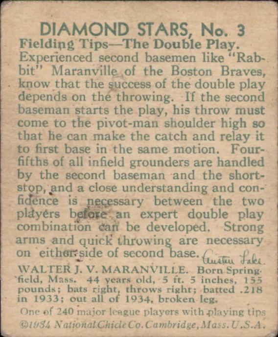 1934-36 Diamond Stars #3 Rabbit Maranville/34G, 35G back image