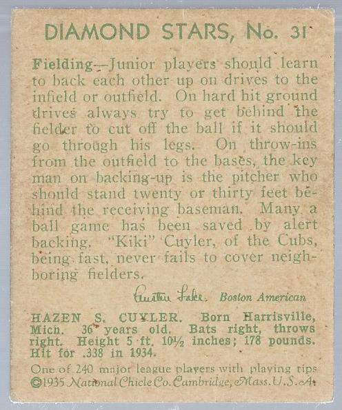 1934-36 Diamond Stars #31A Kiki Cuyler 35G/Chicago Cubs back image