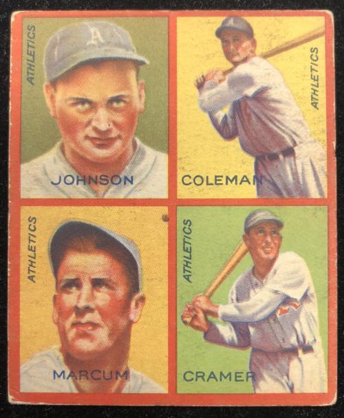 1935 Goudey 4-in-1 #15-8 Bob Johnson/Ed Coleman/Johnny Marcum/Doc Cramer/8J (Cleveland Indians Puzzle)